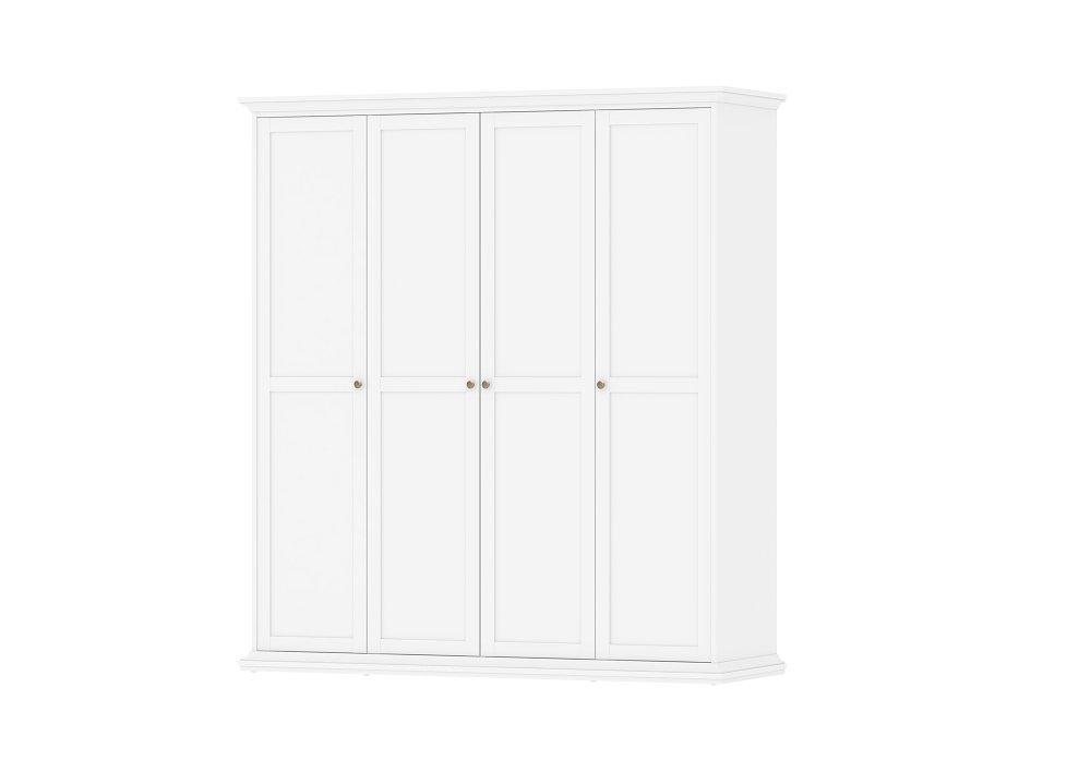 Čtyřdveřová bílá šatní skříň Paris 75354 - TVI
