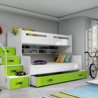 Patrová postel Max 3 x matrací PUR zelená - BM