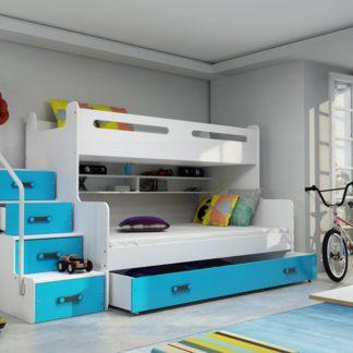 Patrová postel Max 3 x matrací PUR modrá - BM