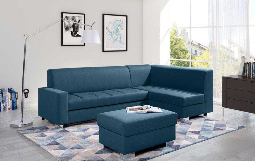 Rohová sedací souprava Mix rozkládací modrá - FALCO