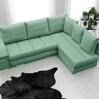 Rohová sedací souprava Arni s barem zelenomodrá - FALCO