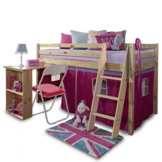 Dětská patrová postel s PC stolem Alzena růžová - TempoKondela