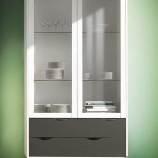Dvoudveřová retro vitrína Oslo 75462 bílá/černý mat - TVI