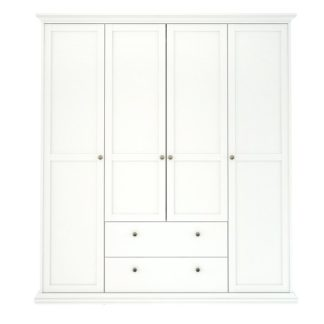 Čtyřdveřová bílá šatní skříň Paris 75369 - TVI