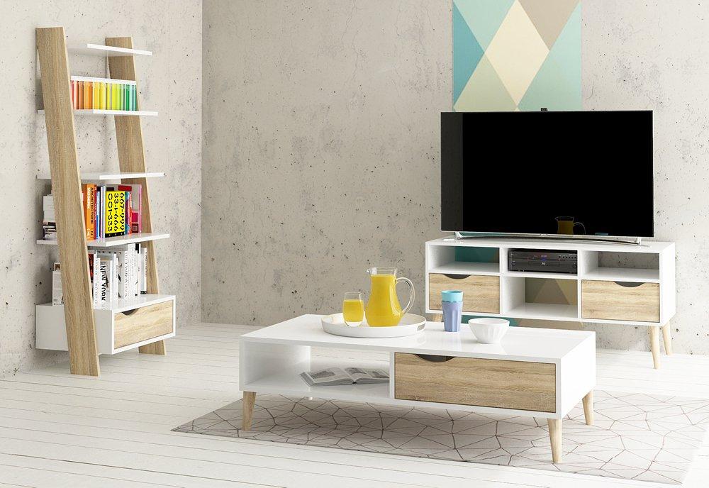 Obývací retro stěna Oslo 2 bílá/struktura dubu - TVI