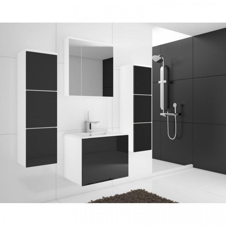 Koupelnová sestava Porto s LED osvětlením černý lesk - FALCO