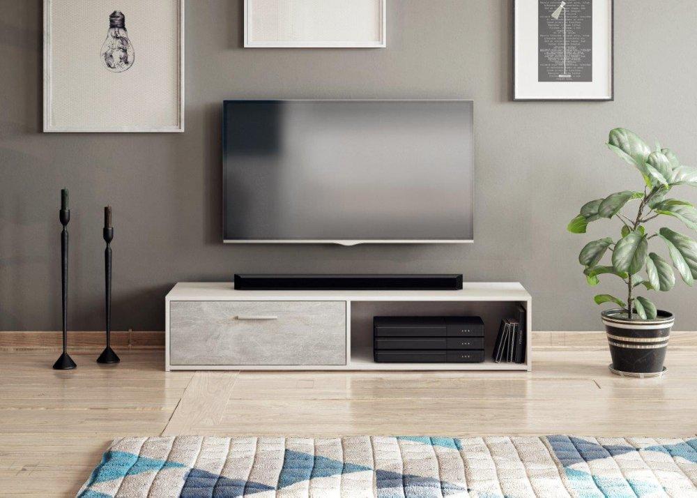 TV stolek Sharp bílá/beton - FALCO