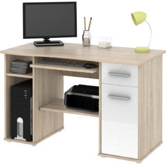 Kancelářský PC stůl SAMUEL, dub sonoma/bílý lesk