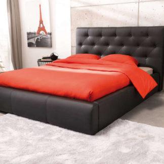JASMINE, postel 140x200, černá ekokůže
