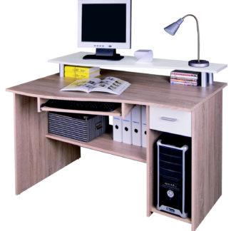 Kancelářský PC stůl LEON, dub sonoma/bílá