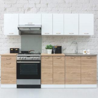 Kuchyně SONJA 2, 180/240 cm, korpus bílý/dvířka dub barrique, bílý mat