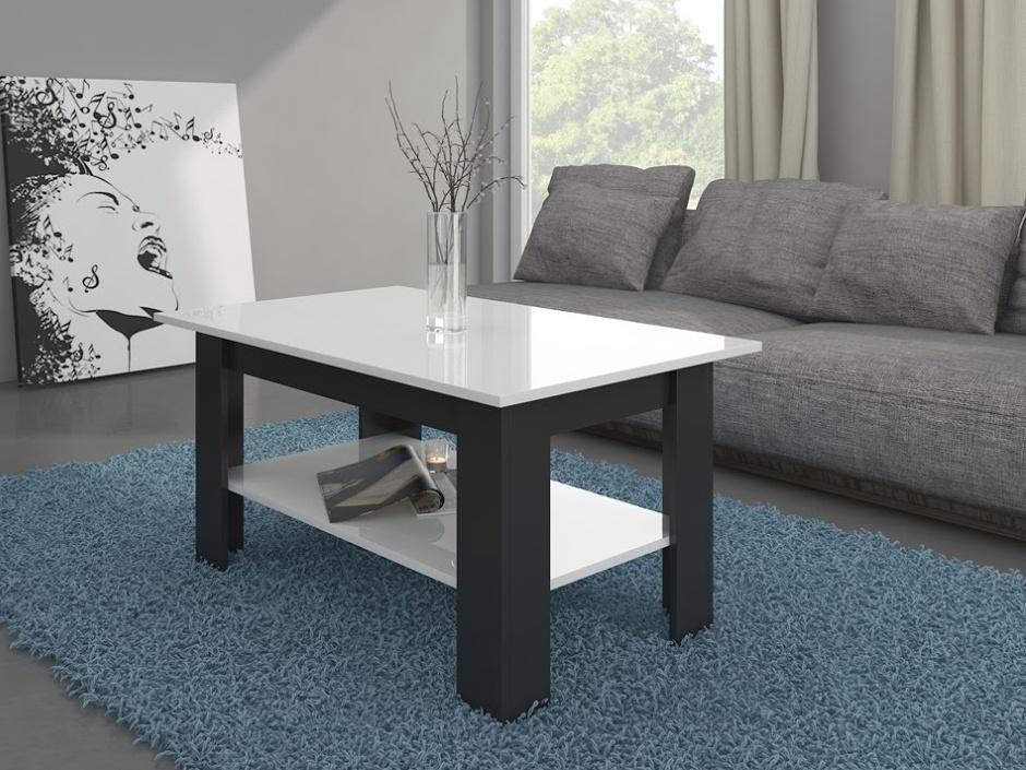 Konferenční stolek ELAIZA, černá/bílý lesk