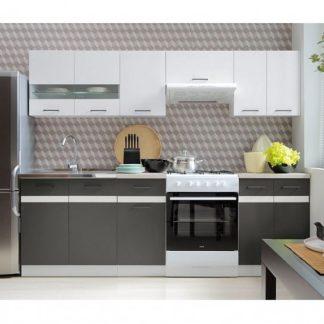 Kuchyně JUNONA 180/240 cm, korpus bílý/dvířka bílý lesk, šedý wolfram