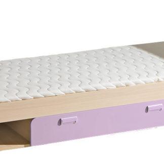 LORENTTO, postel L13, jasan/fialová,včetně matrace