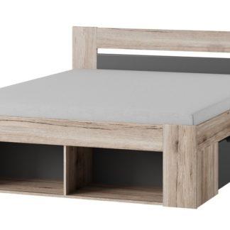 ROMA postel 160x200, dub/šedá