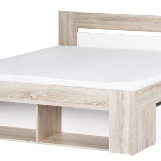 MILO, postel 140x200 cm, dub sonoma/bílá