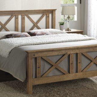 TEXAS, masivní postel 180x200 cm s roštem, teak s vypalovaným dekorem