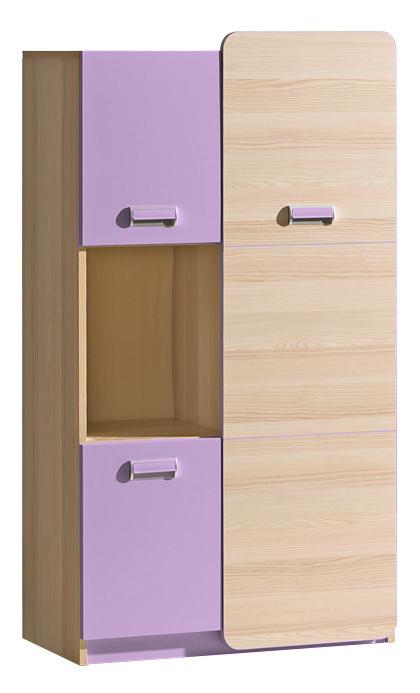 LORENTTO, policová skříň L5, jasan/fialová