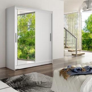 Šatní skříň WESTA VI, bílý mat/zrcadlo