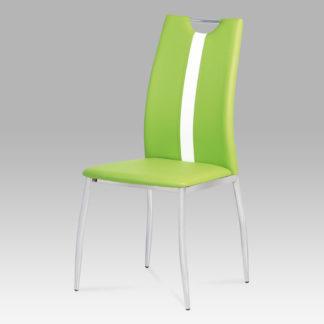 Jídelní židle, koženka zelená / chrom, AC-1296 LIM