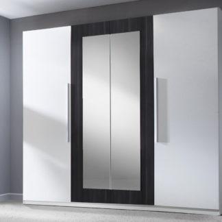 VERA skříň se zrcadlem, bílá/ořech černý