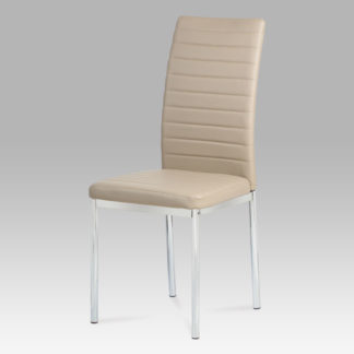 Jídelní židle, koženka cappuccino / chrom AC-1285 CAP