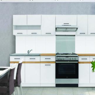 Kuchyně JUNONA 180/230 cm, korpus bílý/dvířka bílý lesk