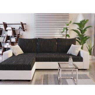 Rohová sedačka TRIPOLIS, černá látka/bílá ekokůže