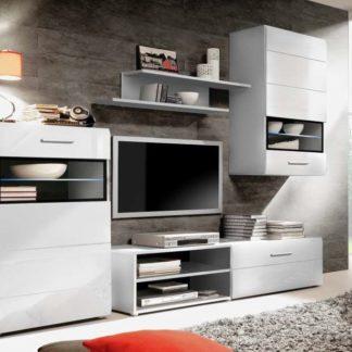 SLATE, obývací stěna STXM12B včetně LED, bílá/černá - DOPRODEJ