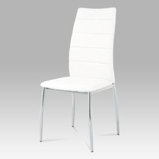 Jídelní židle, chrom/koženka bílá, AC-1295 WT