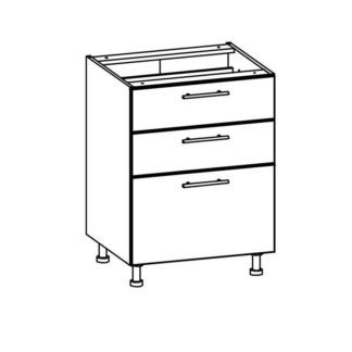 T20/D60S3 - TIFFANY, dolní skříňka D60S3, bílý lesk