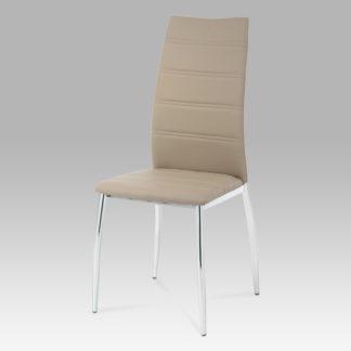 Jídelní židle, chrom/koženka cappuccino, AC-1295 CAP