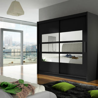 Šatní skříň BEGA III, černý mat/zrcadlo