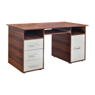 Praktický PC stůl se zásuvkami a skříňkou 60194, ořech/bílá