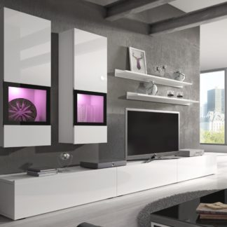 BAROS obývací stěna TYP 10, bílá/bílý lesk