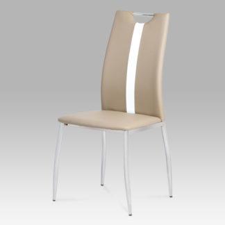 Jídelní židle, koženka cappuccino / chrom, AC-1296 CAP