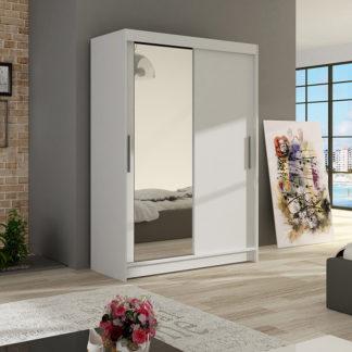 Šatní skříň MIAMII VI, bílý mat/zrcadlo