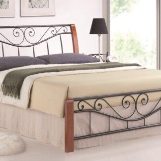 PARMIA, postel 160x200 cm, masiv/kov, třešeň
