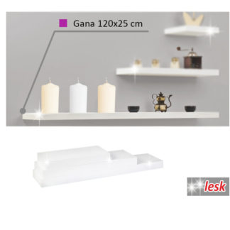 GANA police 120x25 cm, bílý lesk