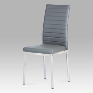 Jídelní židle, koženka šedá/ chrom AC-1285 GREY