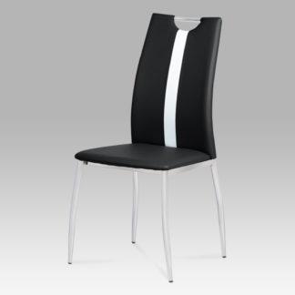 Jídelní židle, koženka černá / chrom, AC-1296 BK
