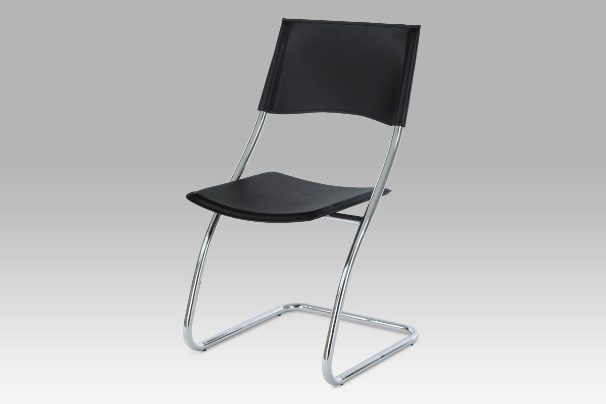 Židle B161 BK, chrom/černá