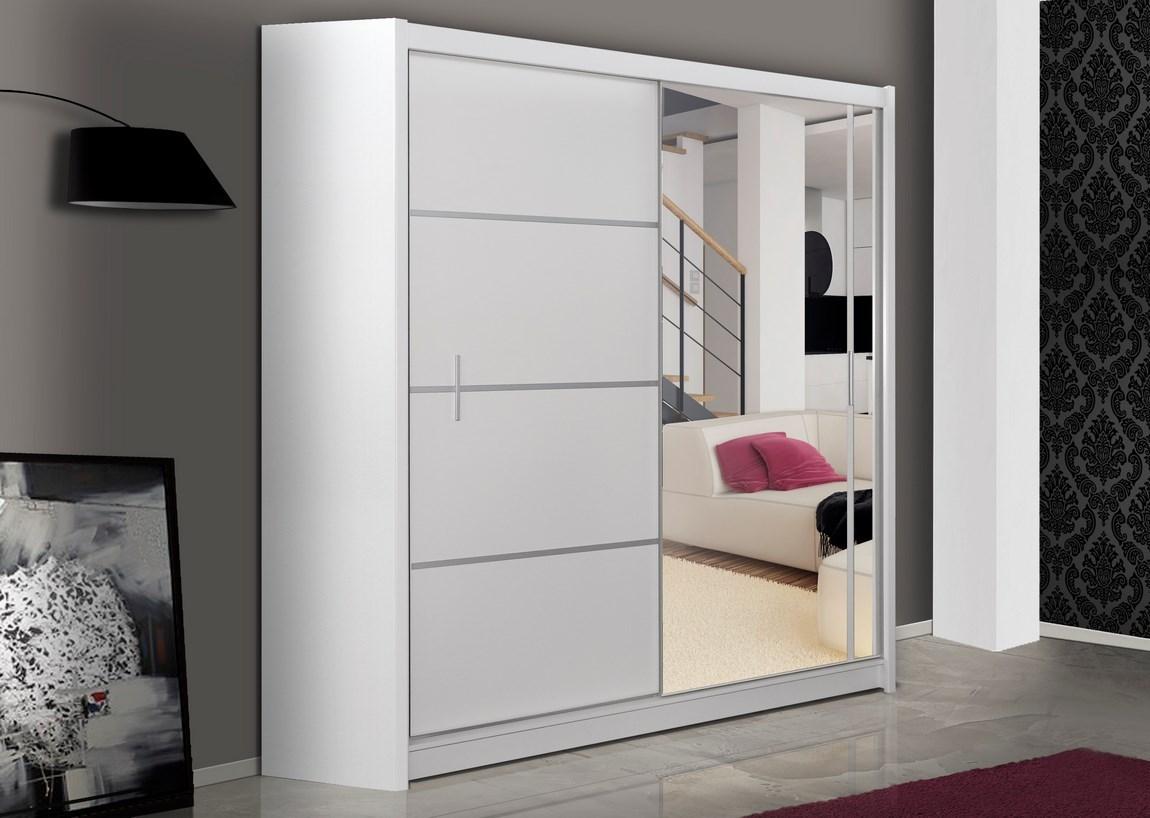 Šatní skříň s posuvnými dveřmi VISTA 180, bílá