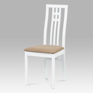 Jídelní židle BC-2482 WT, masiv buk, barva bílá, potah béžový