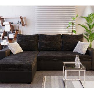 Rohová sedačka TRIPOLIS, černá látka/černá ekokůže