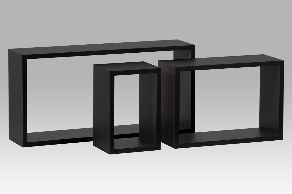 Nástěnné poličky P-009 BK, sada 3 ks, matná černá