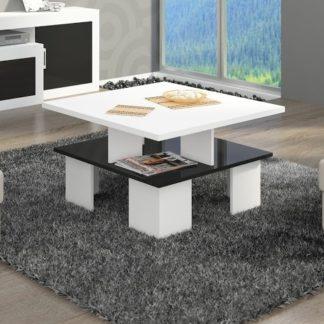 Konferenční stolek SUPRA 1, bílá/černý lesk