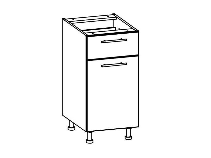 T16/D40S1 - TIFFANY, dolní skříňka D40S1, bílý lesk