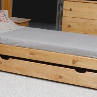 Úložný prostor pod postel 150 cm, masiv borovice/moření olše