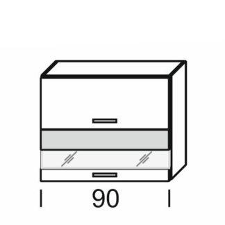 KAMDUO, horní skříňka DUO WO2W_9/72, dub son./láva